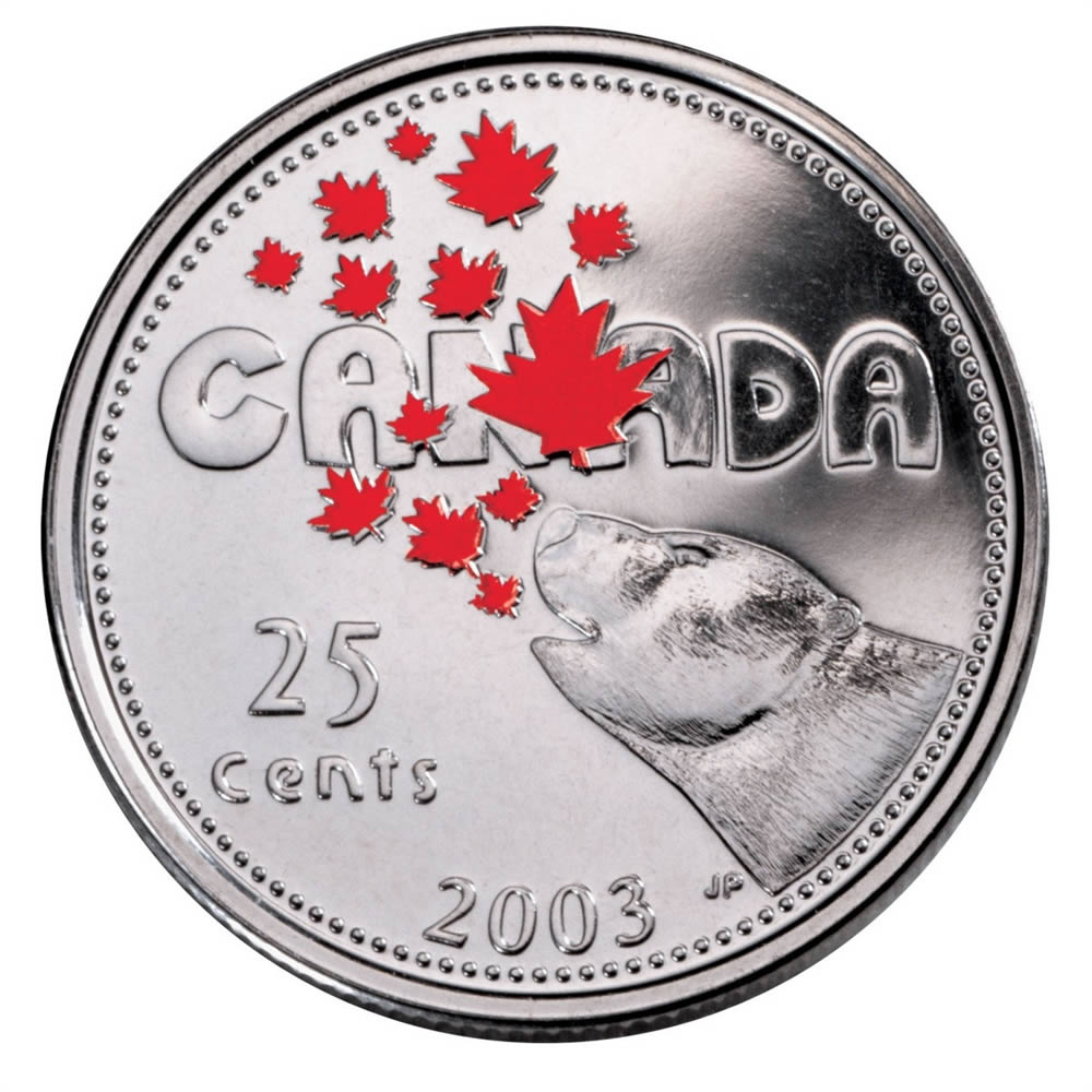 25c 2003 Canada Day Colourised Royal Canadian Mint Coins