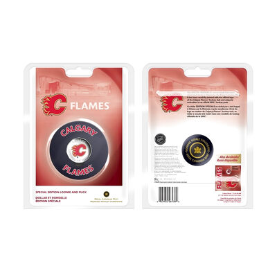 $1 2008 NHL Special Edition Coloured $1 with Puck - Calgary Flames