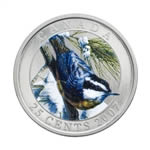 25c 2007 Colourised Coin - Red-Breasted Nuthatch - Birds of Canada