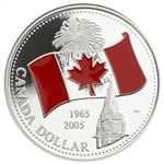 $1 2005 Proof Silver Coin - 40th Anniversary of  Canada's National Flag, Red Enamel
