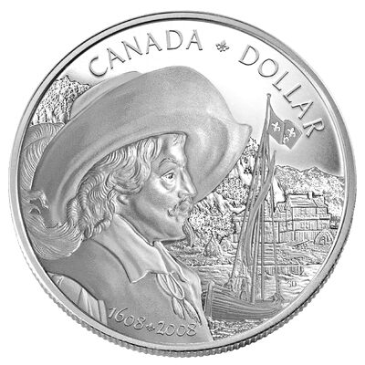$1 2008 Proof Silver Dollar - Celebrating the 400th Anniversary of Quebec City
