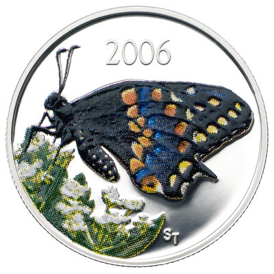 50c 2006 Silver Coin - Short-tailed Swallowtail Butterfly