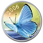 50c 2006 Silver Coin - Silvery Blue Butterfly