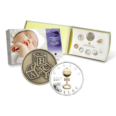 $1 2007 Silver Coin Gift Set - Baby Rattle