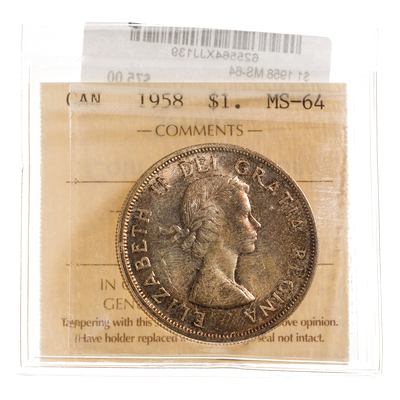 1 Dollar 1958  ICCS MS-64