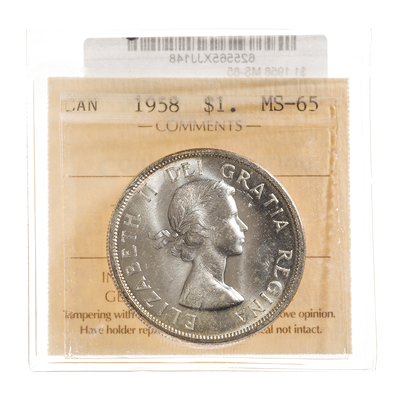 1 Dollar 1958  ICCS MS-65