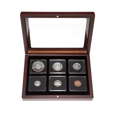 1964 Uncirculated Coin Set in Custom Mahogany Display Case