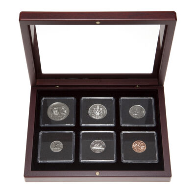 1974 Uncirculated Coin Set in Custom Mahogany Display Case