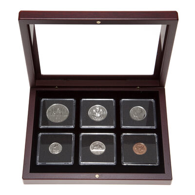 1982 Uncirculated Coin Set in Custom Mahogany Display Case