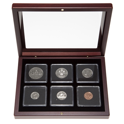 1985 Proof-Like Coin Set in Custom Mahogany Display Case