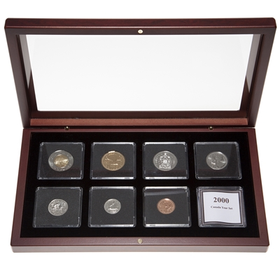 "2000 ""Polar Bear"" Proof-Like Coin Set in Custom Mahogany Display Case"