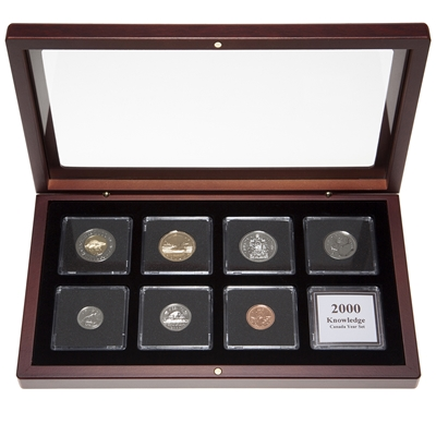 "2000 ""Knowledge"" Proof-Like Coin Set in Custom Mahogany Display Case"