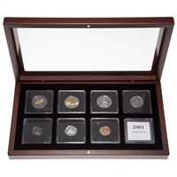 2001 Proof-Like Coin Set in Custom Mahogany Display Case