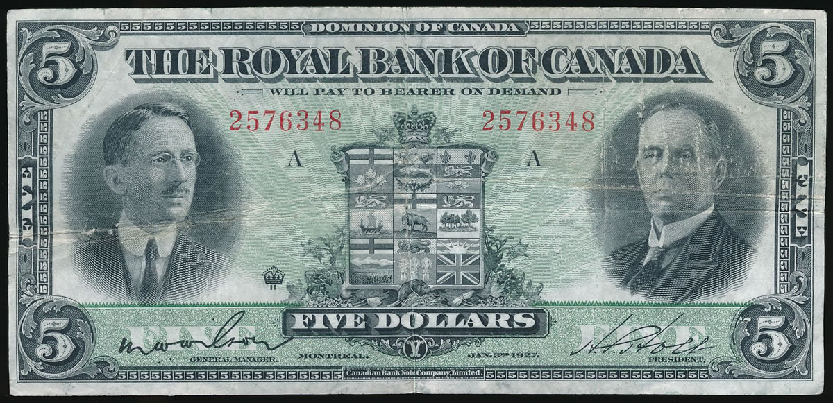 The Royal Bank of Canada $5 1927 VF-20 | Canadian Paper Money