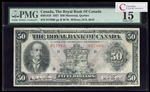 The Royal Bank of Canada $50 1927 Wilson l. PMG F-15