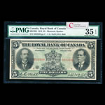 The Royal Bank of Canada $5 1913 Typed Neill, l. PMG VF-35
