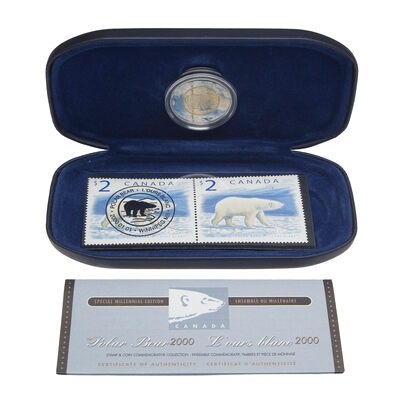 2000 $2 Polar Bear Coin & Stamp Set