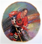 "Bobby Hull 11"" x 14"" Hockey Lithograph with matching stamp"