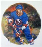 "Denis Potvin 11"" x 14"" Hockey Lithograph with matching stamp"