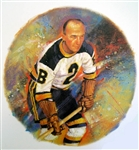 "Eddie Shore 11"" x 14"" Hockey Lithograph with matching stamp"