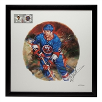 100 Units - NHL All-Stars Framed Autographed Lithograph and Stamp Set - Dennis Potvin