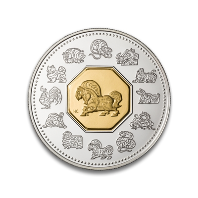 $15 2002 Silver Coin and Stamp - Year of the Horse
