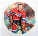 "Howie Morenz 11"" x 14"" Hockey Lithograph with matching stamp"