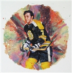 "Phil Esposito 11"" x 14"" Hockey Lithograph with matching stamp"