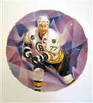 "Raymond Bourque 11"" x 14"" Hockey Lithograph with matching stamp"