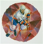 "Mike Bossy 11"" x 14"" Hockey Lithograph with matching stamp"