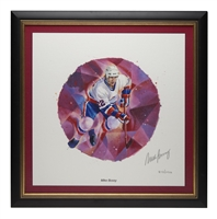 2003 NHL All-Stars Framed Autographed Lithograph and Stamp Set - Mike Bossy