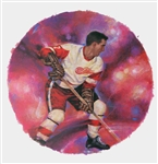 "Ted Lindsay 11"" x 14"" Hockey Lithograph with matching stamp"
