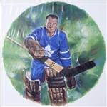 "Johnny Bower 11"" x 14"" Hockey Lithograph with matching stamp"