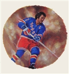 "Brad Park 11"" x 14"" Hockey Lithograph with matching stamp"