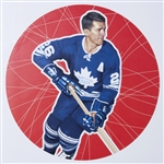 "Allan Stanley 11"" x 14"" Hockey Lithograph with matching stamp"