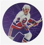 "Bryan Trottier 11"" x 14"" Hockey Lithograph with matching stamp"