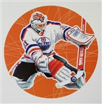 "Grant Fuhr 11"" x 14"" Hockey Lithograph with matching stamp"