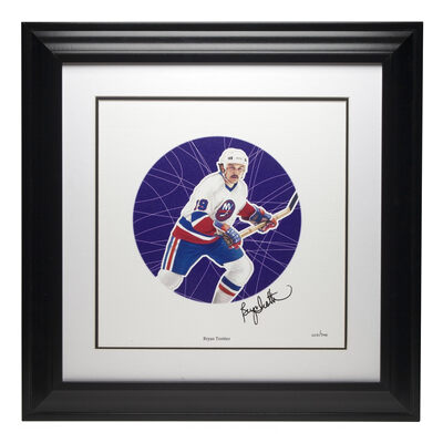2005 NHL All-Stars Framed Autographed Lithograph and Stamp Set - Bryan Trottier