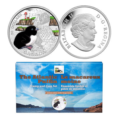 2016 $20 Puffin: Baby Animals - Pure Silver Coin and Stamp Set