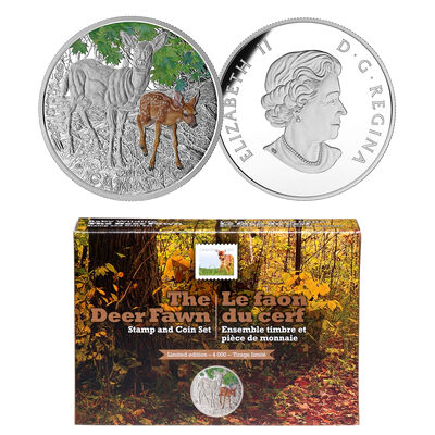 2015 $20 White-Tailed Deer Coin and Stamp Set (Baby Animals)