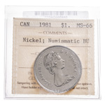 1 Dollar 1981 Nickel; Numismatic BU ICCS MS-66