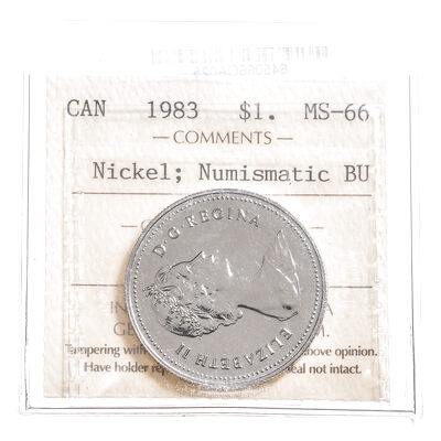 1 Dollar 1983 Nickel; Numismatic BU ICCS MS-66