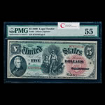 US $5 Legal Tender Note 1869 Allison-Spinner Large Red PMG AU-55