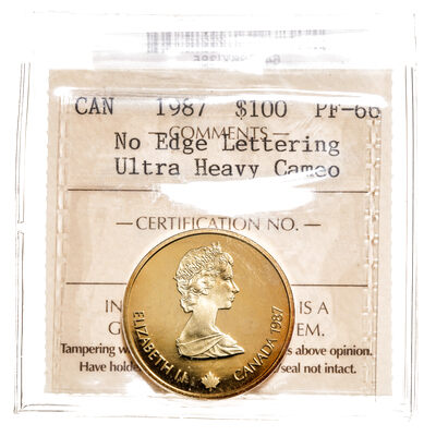 1 Dollar 1987 Ultra Heavy Cameo; Mint Error ICCS PR-66