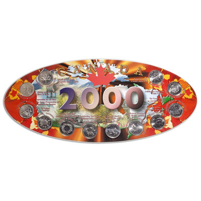 2000 Canada Quarter Board with Coins