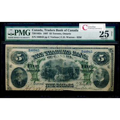 The Traders Bank of Canada $5 1897 $3M PMG VF-25