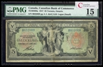 The Canadian Bank of Commerce $5 1917 Small Logan, r. PMG F-15