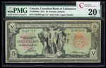 The Canadian Bank of Commerce $5 1917 Small Logan, r. PMG VF-20
