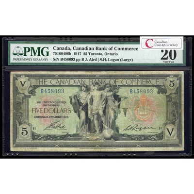 The Canadian Bank of Commerce $5 1917 Large Logan, r. PMG VF-20