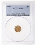US $1 gold 1853 Liberty PCGS MS-62